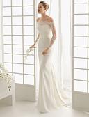 billige Bryllupskjoler-Havfrue Løse skuldre Kapellslep Elastisk sateng Langermet Romantikk Illusjonsdetalj Made-To-Measure Brudekjoler med 2020 / Klokke