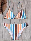 olcso Póló-Női Alap Szivárvány Trokuti Merész Bikini Fürdőruha - Csíkos Nyitott hátú S M L Szivárvány