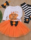 povoljno Kompletići za bebe-Dijete Djevojčice Ulični šik Print / Halloween Dugih rukava Regularna Pamuk Komplet odjeće Crn / Dijete koje je tek prohodalo