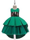 Χαμηλού Κόστους Λουλουδάτα φορέματα για κορίτσια-Γραμμή Α Midi Φόρεμα για Κοριτσάκι Λουλουδιών - Μείγμα Βαμβακιού Αμάνικο Με Κόσμημα με Κόψιμο