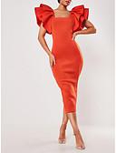 baratos Vestidos de Coquetel-Tubinho Decote Quadrado Até o Tornozelo Poliéster Elegante Evento Formal Vestido 2020 com Pregueado