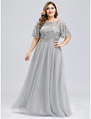 זול שמלות נשף-גזרת A עם תכשיטים עד הריצפה שיפון / תחרה נשף רקודים שמלה עם אפליקציות / סרט על ידי LAN TING Express