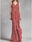 Χαμηλού Κόστους Φορέματα Ξεχωριστών Γεγονότων-Γραμμή Α Λαιμόκοψη V Μακρύ Σιφόν Φόρεμα Παρανύμφων με Ζώνη / Κορδέλα / Πλισέ