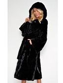 olcso Kabát & Viharkabát-Női Napi Ősz & tél Szokványos Faux Fur Coat, Egyszínű Kapucni Hosszú ujj Műszőrme Fekete