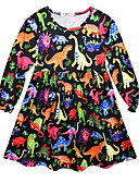 baratos Vestidos para Meninas-Infantil Para Meninas Geométrica Vestido Preto