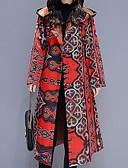 olcso Női hosszú kabátok és parkák-Női Virágos Hosszú Anorák, Poliészter Rubin / Lóhere / Tengerészkék M / L / XL