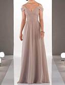 Χαμηλού Κόστους Φορέματα Παρανύμφων-Γραμμή Α Λεπτές Τιράντες Μακρύ Σιφόν Φόρεμα Παρανύμφων με Πλισέ