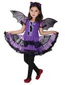 povoljno Haljine za djevojčice-Djeca Djevojčice Aktivan Geometrijski oblici Halloween Print Kratkih rukava Iznad koljena Haljina purpurna boja