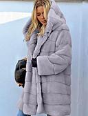 povoljno Ženske kaputi od kože i umjetne kože-Žene Dnevno Jesen zima Normalne dužine Faux Fur Coat, Jednobojni S kapuljačom Dugih rukava Umjetno krzno Crn / Blushing Pink / Braon