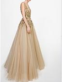 זול שמלות שושבינה-גזרת A צלילה עד הריצפה טול נשף רקודים שמלה עם חרוזים / נצנצים על ידי LAN TING Express