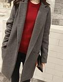 ราคาถูก ผ้าขนสัตว์และขนสัตว์สตรีผสมผสาน-สำหรับผู้หญิง ทุกวัน ยาว เสื้อโค้ท, สีพื้น Rolled collar แขนยาว เส้นใยสังเคราะห์ สีดำ / สีน้ำเงินกรมท่า / สีเทา