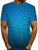 billige T-skjorter og singleter til herrer-T-skjorte Herre - Fargeblokk / 3D, Trykt mønster Gatemote / overdrevet Blå
