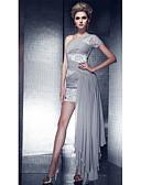 Χαμηλού Κόστους Φορέματα NYE-Ίσια Γραμμή Ένας Ώμος Ασύμμετρο Σιφόν / Δαντέλα Φανταχτερό / χαριτωμένο στυλ Επίσημο Βραδινό Φόρεμα 2020 με Χάντρες / Πούλιες / Πιασίματα