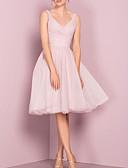 Χαμηλού Κόστους Φορέματα Παρανύμφων-Γραμμή Α Λαιμόκοψη V Μέχρι το γόνατο Τούλι Φόρεμα Παρανύμφων με Πλισέ