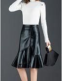 povoljno Haljine za majku mlade-Žene Sirena kroj Ulični šik / Sofisticirano PU Suknje - Jednobojni Nabori Crn M L XL / Slim