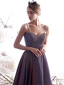 Χαμηλού Κόστους Φορέματα Παρανύμφων-Γραμμή Α Λεπτές Τιράντες Μακρύ Πολυεστέρας / Ζέρσεϊ Φανταχτερό / Κομψό Χοροεσπερίδα Φόρεμα 2020 με Πλισέ