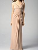 Χαμηλού Κόστους Φορέματα Ξεχωριστών Γεγονότων-Γραμμή Α Λαιμόκοψη V Μακρύ Σιφόν Φόρεμα Παρανύμφων με Πλισέ / Ανοικτή Πλάτη