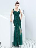 זול שמלות שושבינה-מעטפת \ עמוד רצועות ספגטי עד הריצפה טול / נצנצים ערב רישמי שמלה עם נצנצים על ידי LAN TING Express
