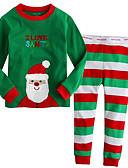 olcso Fiú ruházat-Gyerekek Fiú Alap Csíkos Karácsony Hosszú ujj Ruházat szett Lóhere