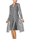 baratos Vestidos Longos-Mulheres Para mãe Renda Rendas Duas Peças Vestido - Renda Estilo Formal, Sólido Decote V Altura dos Joelhos