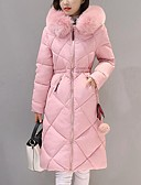olcso Női hosszú kabátok és parkák-Női Egyszínű Pehely, Poliészter / POLY Fekete / Arcpír rózsaszín / Katonai zöld M / L / XL