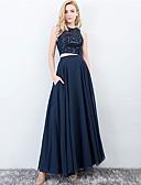 זול שמלות שושבינה-שני חלקים עם תכשיטים עד הריצפה שיפון / תחרה שני חלקים נשף רקודים שמלה עם נצנצים על ידי LAN TING Express