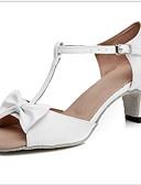 cheap Women's Fur & Faux Fur Coats-Women's Dance Shoes Cowhide Latin Shoes Heel Cuban Heel White