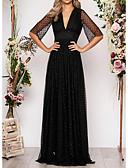 Χαμηλού Κόστους Φορέματα Χορού Αποφοίτησης-Γραμμή Α Βυθίζοντας το λαιμό Μακρύ Σιφόν / Τούλι Κομψό Επίσημο Βραδινό Φόρεμα 2020 με Κρυστάλλινη λεπτομέρεια
