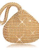 baratos Vestidos de Festa-Mulheres Detalhes em Cristal / Purpurina Poliéster Bolsa de Festa Côr Sólida Preto / Dourado / Prata
