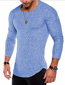 Χαμηλού Κόστους Αντρικά Πουλόβερ & Ζακέτες-Ανδρικά T-shirt Μονόχρωμο Βυσσινί