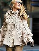 olcso Női pulóverek-Női Egyszínű Hosszú ujj Bő Pulóver Pulóver jumper, Körgallér Khakizöld S / M / L
