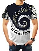 baratos Camisetas & Regatas Masculinas-Homens Tamanhos Grandes Camiseta Básico Estampado, Estampa Colorida Decote Redondo Preto / Manga Curta