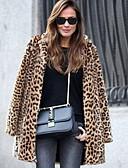 povoljno Ženske kaputi od kože i umjetne kože-Žene Dnevno Osnovni Normalne dužine Faux Fur Coat, Leopard Odbačenost Dugih rukava Umjetno krzno Braon