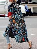 baratos Trench Coats Femininos-Mulheres Diário Outono Longo Casaco, Geométrica Colarinho Chinês Manga Longa Poliéster Azul
