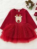 povoljno Kompletići za bebe-Dijete Djevojčice Osnovni Print / Božić Dugih rukava Haljina Red / Dijete koje je tek prohodalo