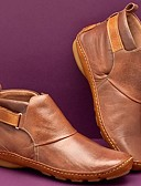 billige Herreskjorter-Dame Støvler Komfort Sko Flat hæl Rund Tå Spenne PU Ankelstøvler Vintage / minimalisme Vår & Vinter / Høst vinter Gul / Grønn / Rød