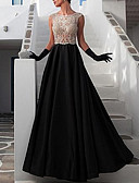 povoljno Maturalne haljine-A-kroj Ovalni izrez Do poda Saten Predivna leđa Prom Haljina s Aplikacije po LAN TING Express