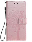 baratos Capinhas para Huawei-Capinha para huawei honor 8a huawei y7 2019 capa de telefone pu leather material em relevo gato e árvore padrão cor sólida phone case