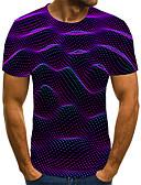 billige T-skjorter og singleter til herrer-T-skjorte Herre - Geometrisk / Fargeblokk / 3D, Flettet / Trykt mønster Gatemote Lilla