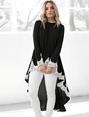 ราคาถูก เสื้อเอวลอยสำหรับผู้หญิง-สำหรับผู้หญิง เสื้อสตรี ลายบล็อคสี สีดำ