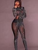 povoljno Ženski jednodijelni kostimi-Žene Crn Bijela Jumpsuits, Jednobojni Print S M L