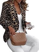 billige Blazere til damer-Dame Blazer, Leopard Hakkjakkeslag Polyester Brun