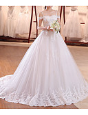 billiga Aftonklänningar-A-linje Off shoulder Svepsläp Tyll Smala axelband Bröllopsklänningar tillverkade med Applikationsbroderi 2020