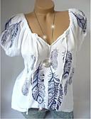 ราคาถูก เสื้อเชิ้ตสำหรับสุภาพสตรี-สำหรับผู้หญิง ขนาดพิเศษ เสื้อเชิร์ต ลายพิมพ์ หลวม รูปเรขาคณิต ขาว