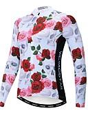 povoljno Biciklističke majice i kompleti-21Grams Cvjetni / Botanički Žene Dugih rukava Biciklistička majica - Rose Red Bicikl Biciklistička majica Majice Ugrijati Prozračnost Quick dry Sportski Zima Poliester Elastan Terilen Brdski