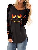 billige T-skjorter til damer-T-skjorte Dame - Tegneserie, Trykt mønster Grunnleggende Svart