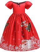 cheap Baby & Kids-Kids Girls' Active Sweet Snowflake Christmas Print Short Sleeve Midi Dress Red