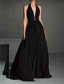Χαμηλού Κόστους Φορέματα Παρανύμφων-Γραμμή Α Δένει στο Λαιμό Ουρά μέτριου μήκους Σιφόν Ανοικτή Πλάτη Επίσημο Βραδινό Φόρεμα 2020 με Πλισέ