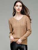 cheap Women's Sweaters-Women's Solid Colored Long Sleeve Pullover Sweater Jumper, V Neck White / Camel / Gray M / L