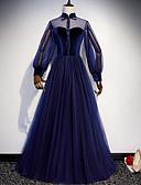 povoljno Maturalne haljine-A-kroj Uz vrat Do poda Til Prom Haljina s Mašna / Gumbi po LAN TING Express